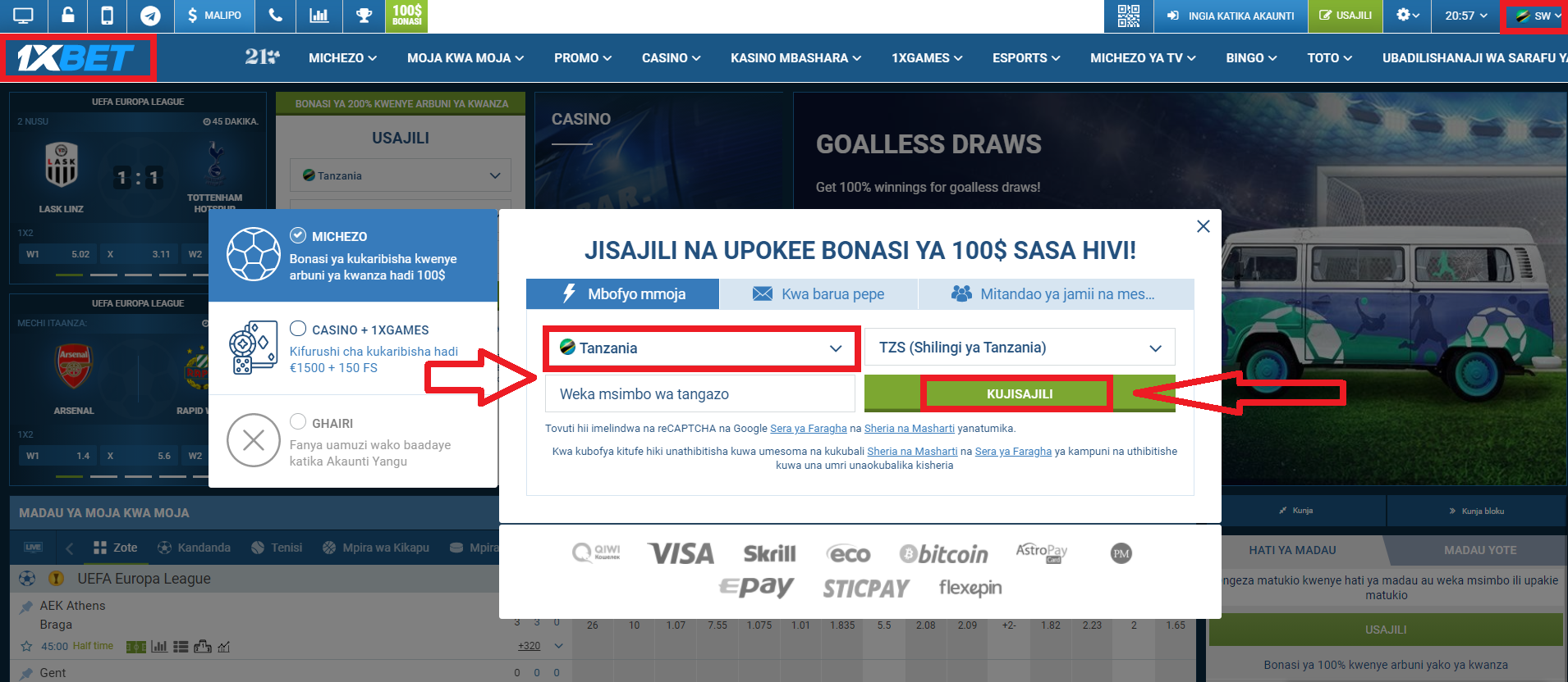 The Different 1xBet Login Tanzania Registration Methods
